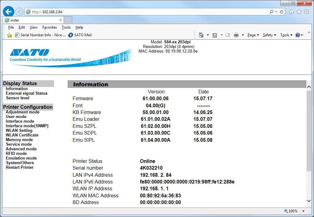 SATO Printer Setting and Configuration Webpage Login   SATO America
