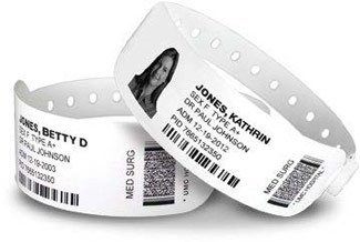 SATO Wristbands provide safety with positive identification of patients, using both human readable text, barcodes and if desired, a patient picture.